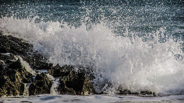 Waves, Rocky Coast, Smashing, Sea, Water, Drops, Liquid