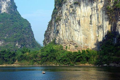 China, Yangshuo, Li River, Navigation, Boat, Solitude