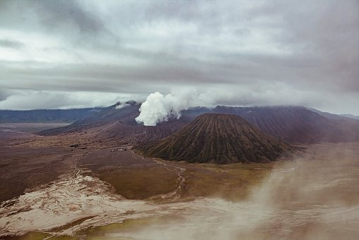 Volcano, Clouds, Mountains, Landscape, Indonesia