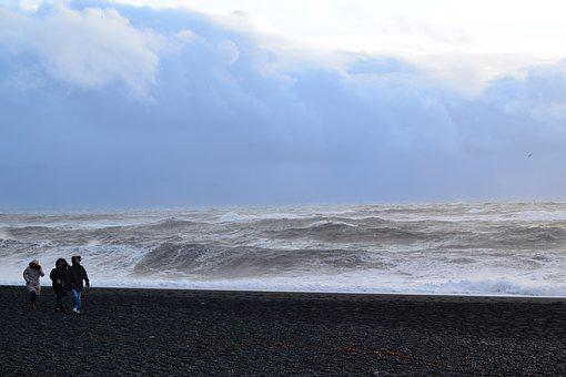Sea, Waves, Iceland, Black Beach, Walk