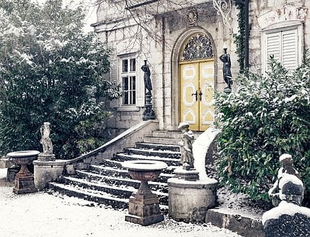Villa, Home, Staircase, Input, Snow, Winter, Wintry