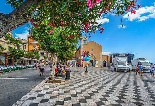 Taormina, Square, Piazza, Flowers, Checkerboard, Italy