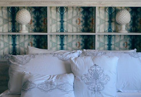 Bed, Pillows, Headboard, Wallpaper, Bedroom, Furniture