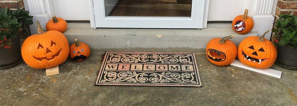 Pumpkins, Halloween, Front Door, Welcome Mat