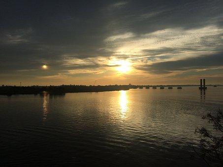 Sol, Rio, Dawn, Porto Alegre, Guaiba