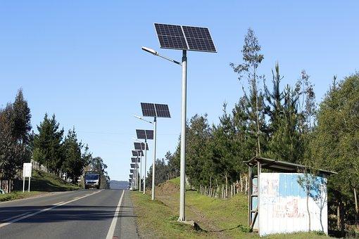 Headlights, Solar, Energy, Road, Light, City, Sun
