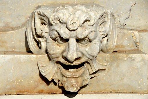 Devil, Stone, Figure, Mystical, Art, Sculpture, Face