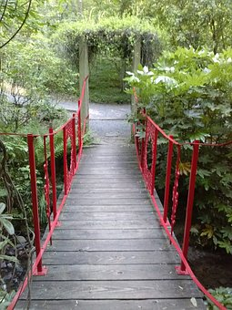 Red, Bridge, Arch, Shrubs, Path