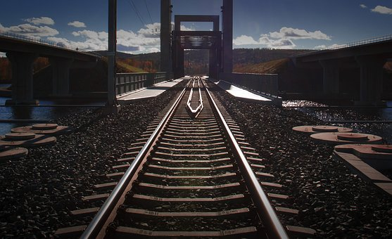 Railway Track, Sun, Sky, Bridge