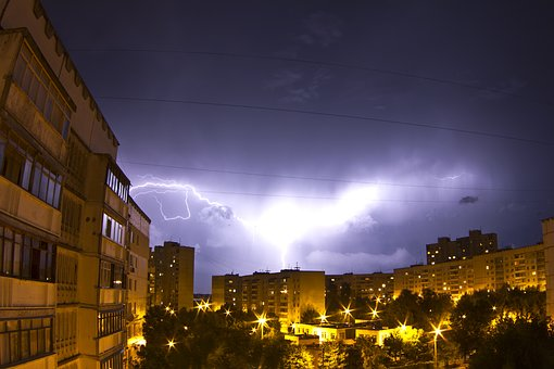 Lightning, Community, At Home, Clouds, Thunderstorm
