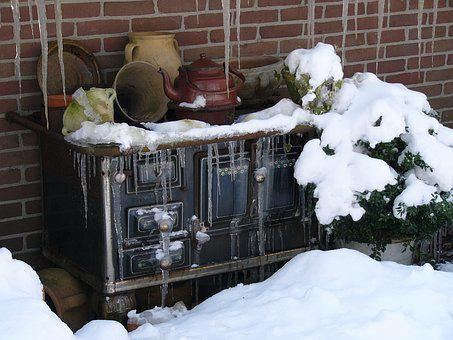 Winter, Drenthe, Echten, Stove, Snow, Antique, Old