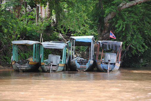 Laos, Boot, River, Asia, Fishing Boats, Landscape