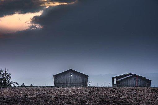 Tobacco Barns, Dark Sky, Landscape, Clouds, Herbs
