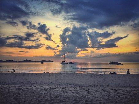 Sunset, Painting, Sky, Cloud, Beach, Island, Landscape
