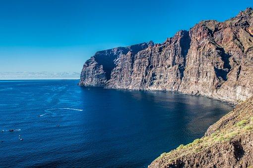 Tenerife, Los Gigantes, Coast, Cliff, Sea, Blue