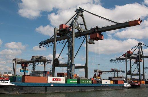 Netherlands, Rotterdam, Port, Container Crane