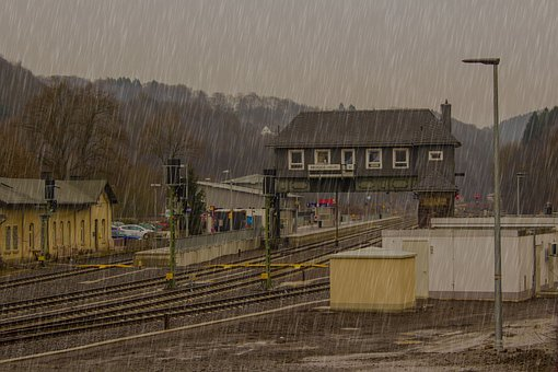 Raining, Railway Station, Train