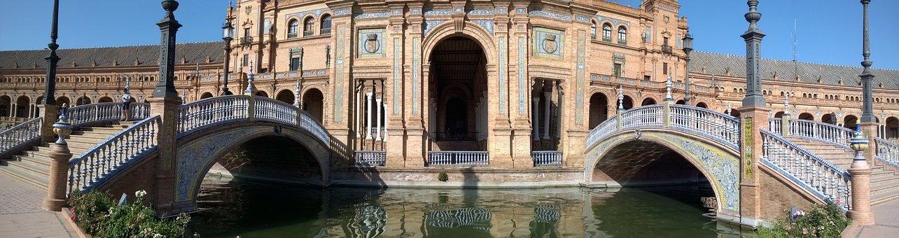Spain, Sevilla, Palace, Plaza De España, Square, Water