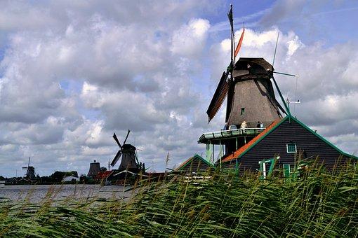 Zaanse Schans, Clouds, Mill, Netherlands, Landscape