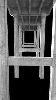 Bridge, Black And White, Architecture, Abstract
