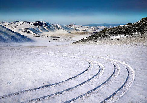 Traces, Slalom, Wintry, Field, Snow, Winter, Cold