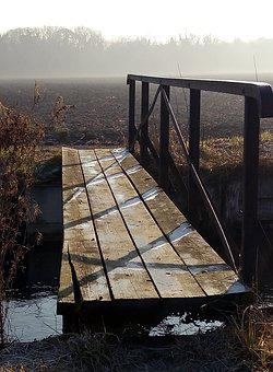 Winter, Bridge, Water, Reflections, Gel, Frost, France