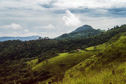 Mountain, Trail, Sky, Clouds, Horizon, Landscape