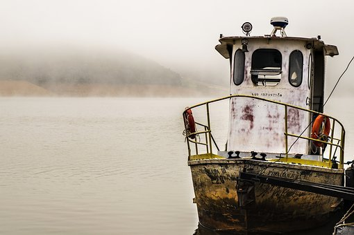 Fog, Dam, Water, Boat, Tug, Cold, Winter, São Paulo