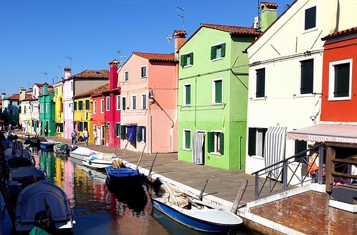 Burano, Venice, Channel, Building, Paint, Italy, Bright