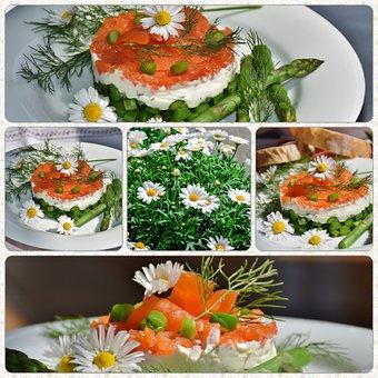 Collage, Asparagus Green, Starter, Asparagus Salad