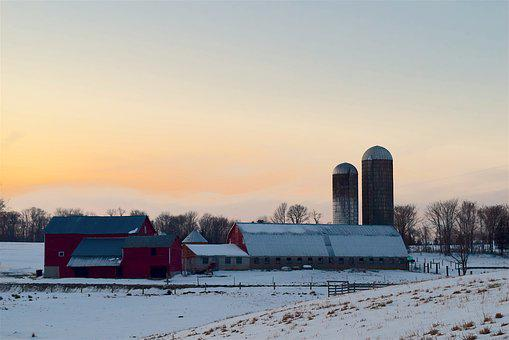 Snow, Farm, Sunset, Barn, Buildings, Winter, Nature