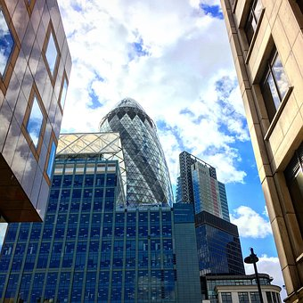 London, Gherkin, City, Building, England, Tower