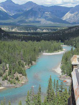 River, Canada, Mountain, Water Courses, Landscape, Ice