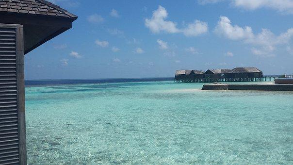 Maldives Island, Turquoise Water, Tropical Sky, Sea