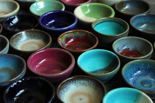 Ceramics, Bowls, Colorful, Shades Of, Design