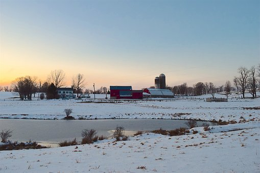 Snow, Farm, Sunset, Shadow, Barn, Sky, Winter, Nature