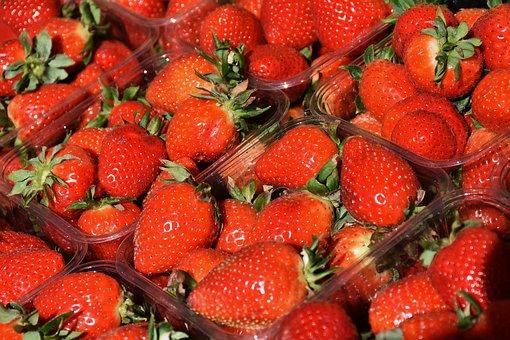 Strawberries, Fruit, Red, Sweet, Fruits, Market, Spring