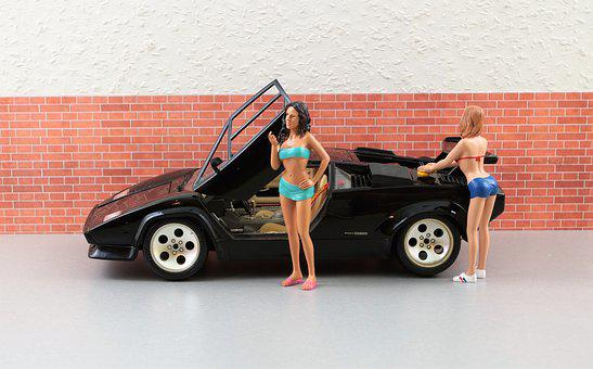 Model Car, Auto, Lamborghini, Black, Sports Car, Toys