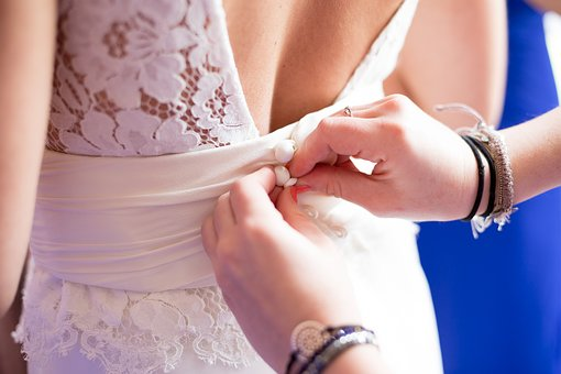 Dress, Preparation, Bride, Back, Hand, Tie, Bracelet