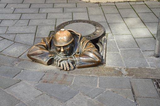 Bratislava, Canal Worker, Slovakia, Channel Gucker