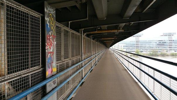 Away, Bridge, Concrete, Graffiti, Vienna, Danube, Walk