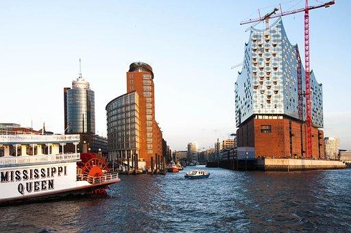 Hamburg, Germany, Landmark, Harbor, River, Elb