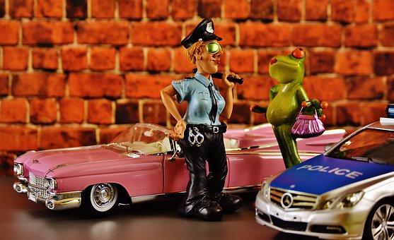 Cadillac, El Dorado, Frog, Chick, Police, Policewoman