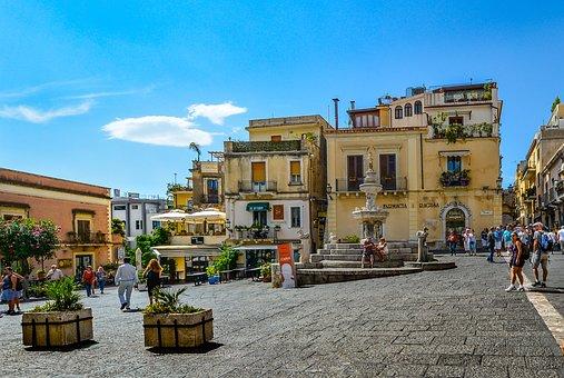 Taormina, Sicily, Italy, Piazza, Town, Square, Tourist