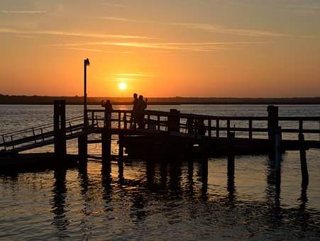 Sunset, People, Observing, Fishing Pier, Dock, Nature