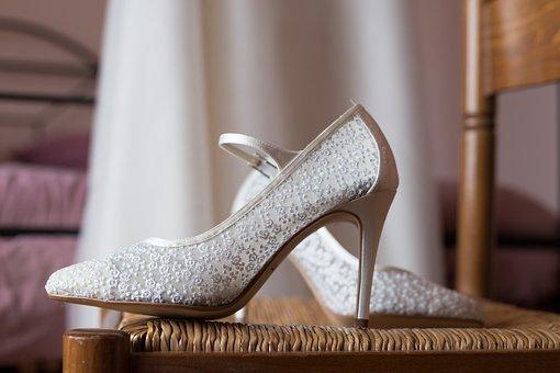 Shoe, Bride, Wedding, Lace, White, Woman