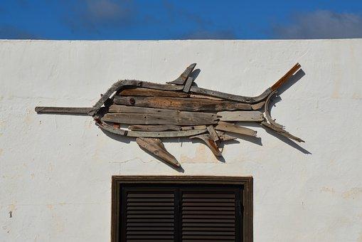 Swordfish, Art, Sculpture, Fish, Wood, Artwork