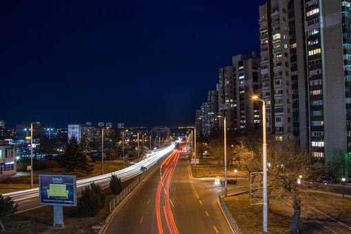 City, Sign, Night, Urban, Street, Symbol, Road, Town