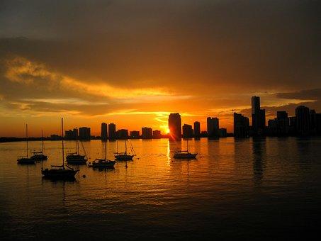 Dock, Skyline, Water, Sunset, City, Architecture
