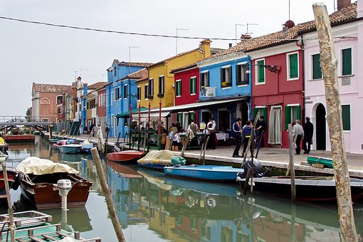 Murano, Venice, Colourful Houses, Italy, Channel, Water